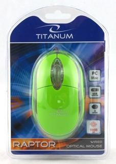 Titanum TM102G RAPTOR optická myš, 1000 DPI, USB, blister, zelená