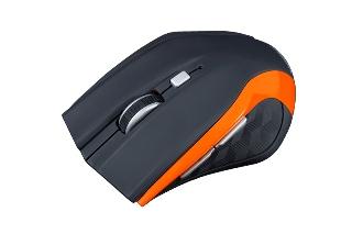 Modecom MC-WM5 bezdrátová optická myš, 5 tlačítek, 1600 DPI, USB nano 2,4 GHz, černo-oranžová