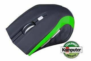 Modecom MC-WM5 bezdrátová optická myš, 5 tlačítek, 1600 DPI, USB nano 2,4 GHz, černo-zelená