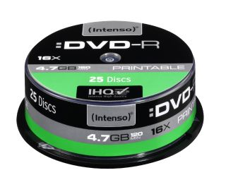 DVD-R Intenso [ cake box 25|4.7GB|16x| printable | Extra Fine Matt | Fullface]