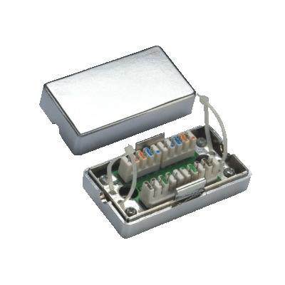 Spojovací BOX STP Cat 5e. (2* zářez. pole) Silver