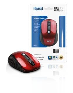 Sweex bezdrátová myš, červená