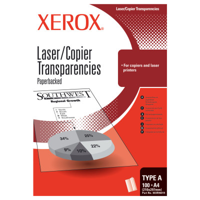 Xerox transparentní fólie pro mono kopírky a laser tiskárny (s podloženým papírem - delší strana)