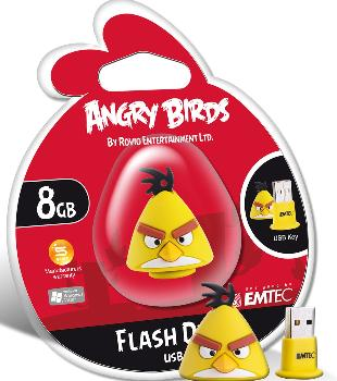 EMTEC Angry Birds Series A102 8GB USB 2.0 flashdisk (15MB/s, 5MB/s), žlutý