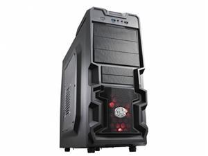 CoolerMaster case miditower K380, ATX, black, USB3.0, průhl. bok, bez zdroje