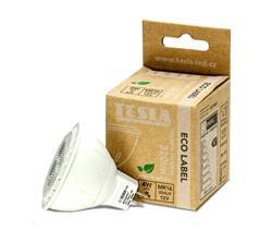 Tesla LED žárovka GU5,3 MR16, 4W, 12V, 320lm, 20 000h, 3000K teplá bílá, 38°