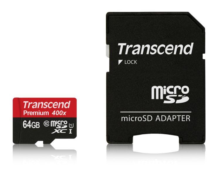 Transcend Micro SDXC karta 64GB Class 10 UHS-I + Adaptér