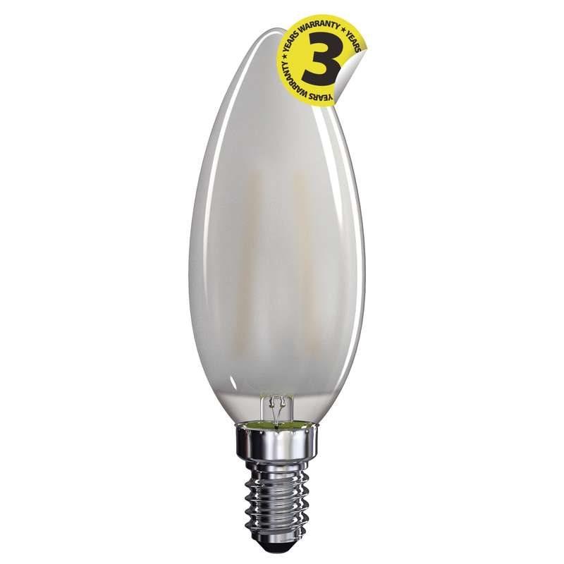 Emos LED žárovka CANDLE, 4W/40W E14, WW teplá bílá, 465 lm, Filament matná A++