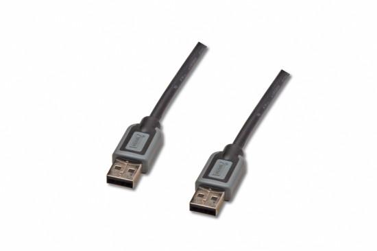 Digitus Premium USB kabel A/samec na A-samec, 2x stíněný, černo/šedý, 1,8m, zlacené konektory