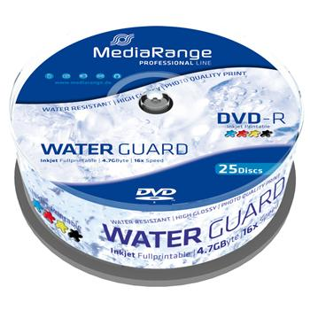 MEDIARANGE DVD-R 4,7GB 16x Waterguard Photo Inkjet Fullprintable spindl 25pck/bal