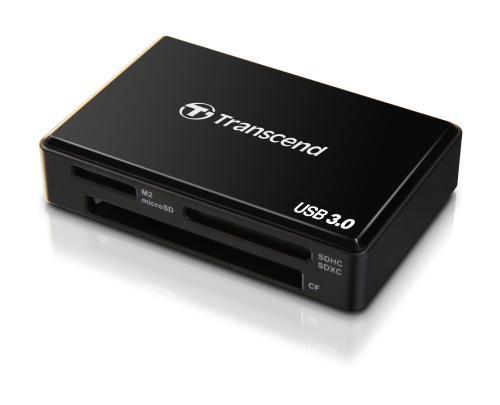 Transcend USB 3.0 čtečka paměťových karet, černá - CF, Memory Stick (MS), MS Micro (M2), SDHC, SDXC, microSDH