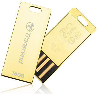 TRANSCEND USB Flash Disk JetFlash®T3G, 16GB, USB 2.0, Golden (odolný vůči prachu, vodě i nárazu) (R/W 19/5 MB/s)