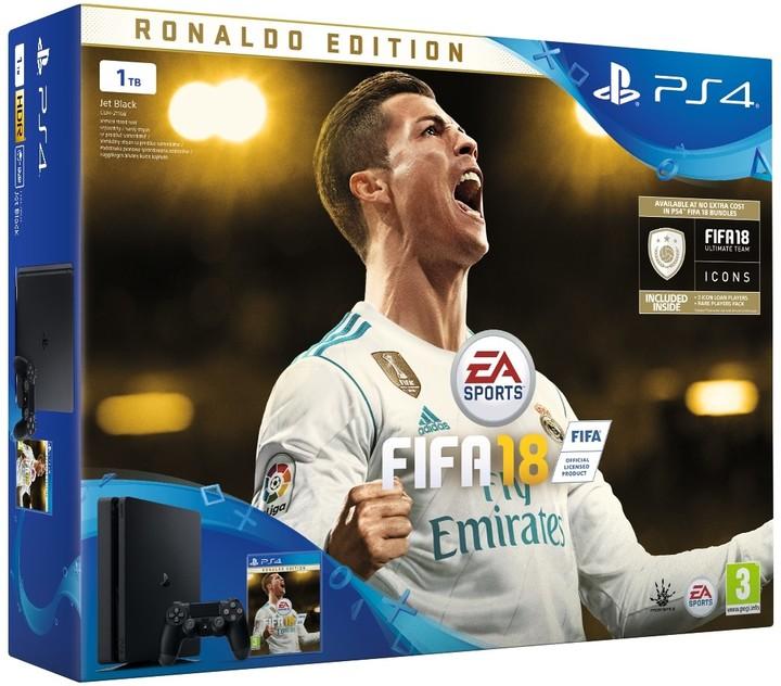 PS4 - Playstation 4 1TB black + FIFA18 Ronaldo edition + PS Plus 14 dní