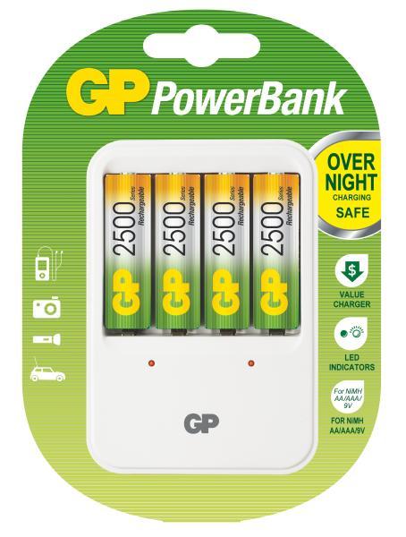 GP PowerBank 420 nabíječka (PB420) + 4x AA 2500 mAh, 15hod.