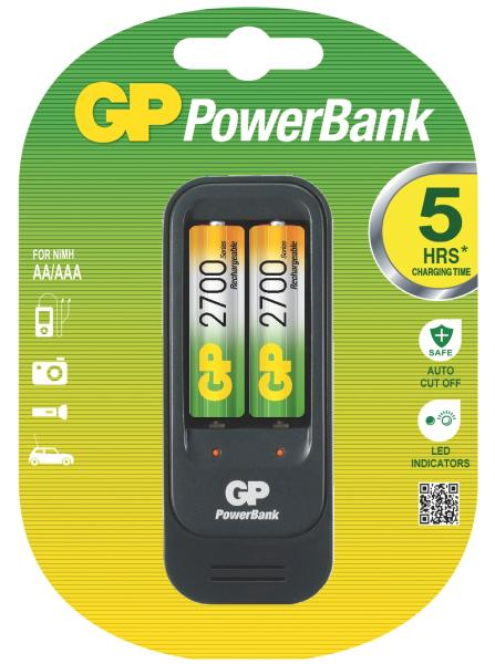 GP PowerBank 560 nabíječka (PB560) + 2x AA 2700 mAh, 6hod.