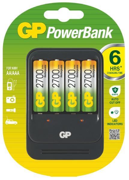 GP PB570 nabíječka + 4x AA Recyko+ 2700, 7hod.