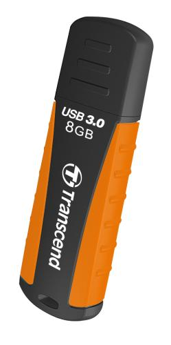 TRANSCEND USB Flash Disk JetFlash®810, 8GB, USB 3.0, Black/Orange (voděodolný, nárazuvzdorný) (R/W 55/5 MB/s)