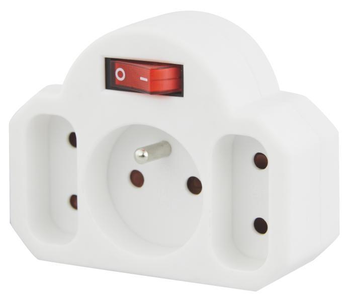 Emos zásuvka rozbočovací 2+1 s vypínačem