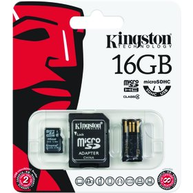 MicroSDHC 16GB + čteč. + adap. KINGSTON