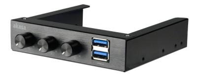 """AKASA Ovládací panel do 3,5"""" pozice, 3x FAN, 2x USB 3.0, černý hliník"""