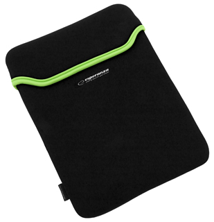 Esperanza ET173G Pouzdro pro tablet 10.1'' (16:9), 3mm neoprén, černo-zelené