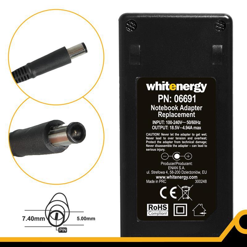Whitenergy napájecí zdroj 18.5V/4.9A 90W konektor 7.4x5.0mm + pin HP
