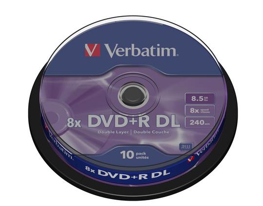 Verbatim DVD+R DL [ cake box 10 | 8.5GB | 8x | matte silver ]