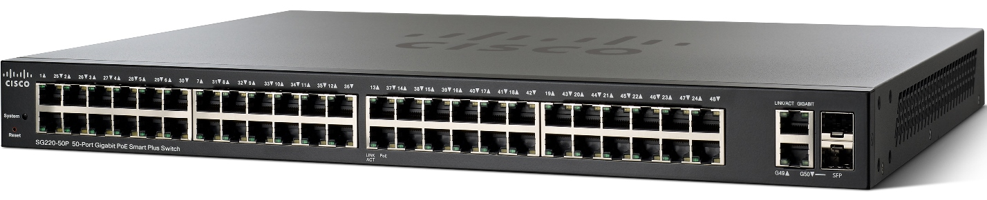 Cisco SG220-50P-K9-EU 50xGigabit PoE Smart+ Switch