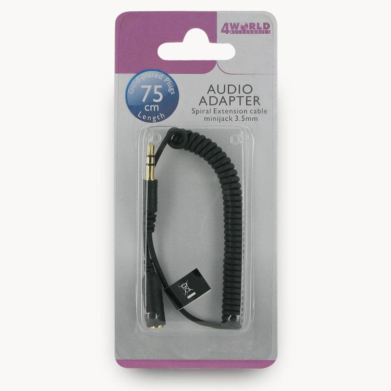 4World Audio Adapter prodlužovací kabel - spirála Jack 3.5 mm 0.75m