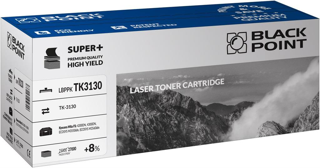 Toner Black Point LBPPKTK3130 | Black | 27000 pp | Kyocera TK-3130