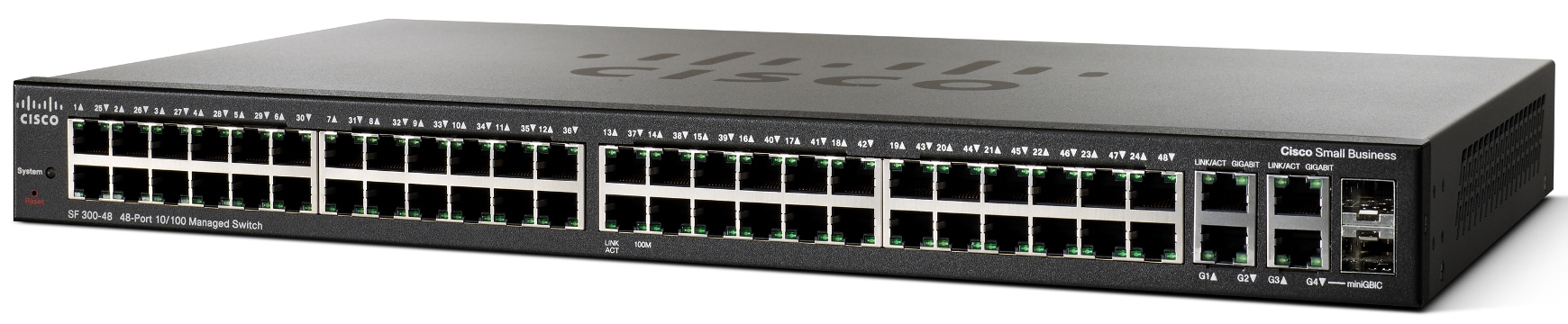 Cisco SF300-48, 48x10/100 +2xGig +2xSFP Switch