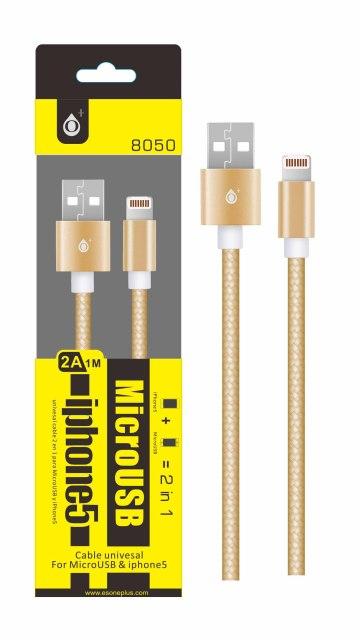 Aligator datový kabel PLUS 8050 UNI pro MicroUSB+lightning, gold