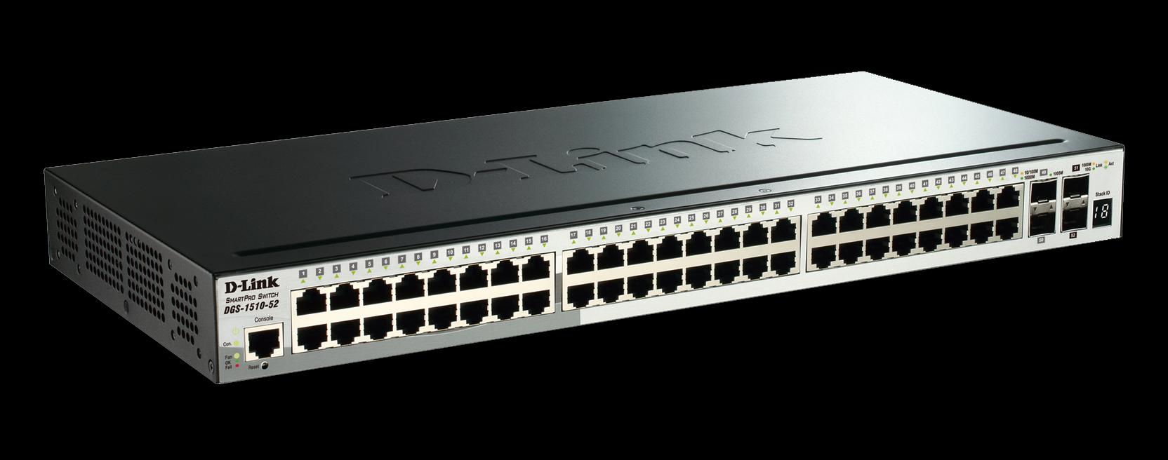 D-Link DGS-1510-52 52-Port Gigabit Stackable Smart Managed Switch including 2 10G SFP+ and 2 SFP ports (smart fans)