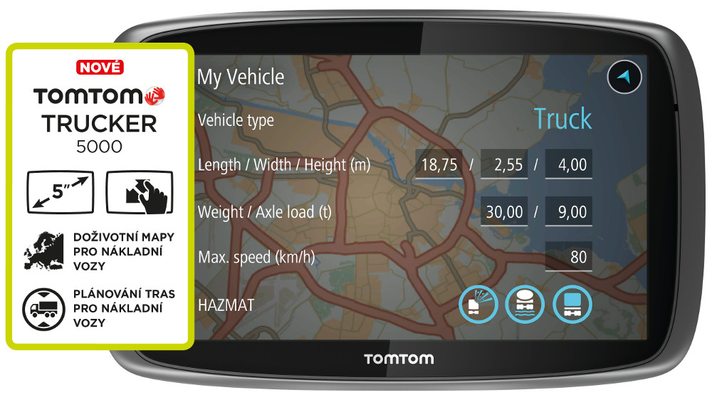 "TOMTOM Trucker 5000 Europe, Lifetime mapy, 5"" displej"