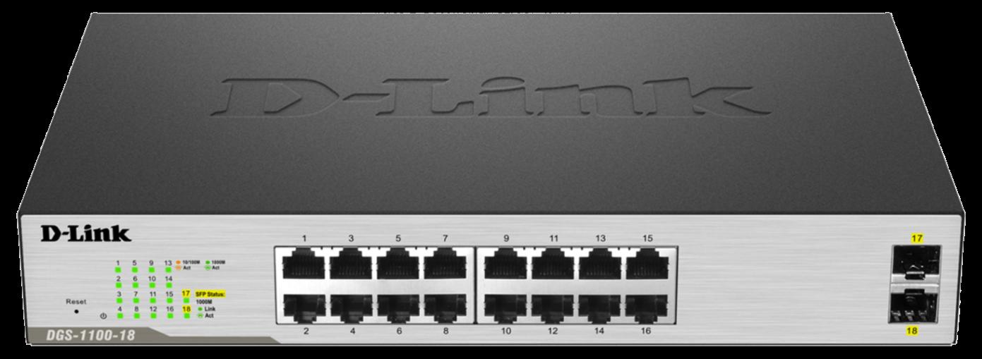 D-Link DGS-1100-18 18-Port Gigabit Smart Switch- 16-Port 10/100BaseTX Auto-Negotiating 10/100/1000Mbps Switch plus 2 S