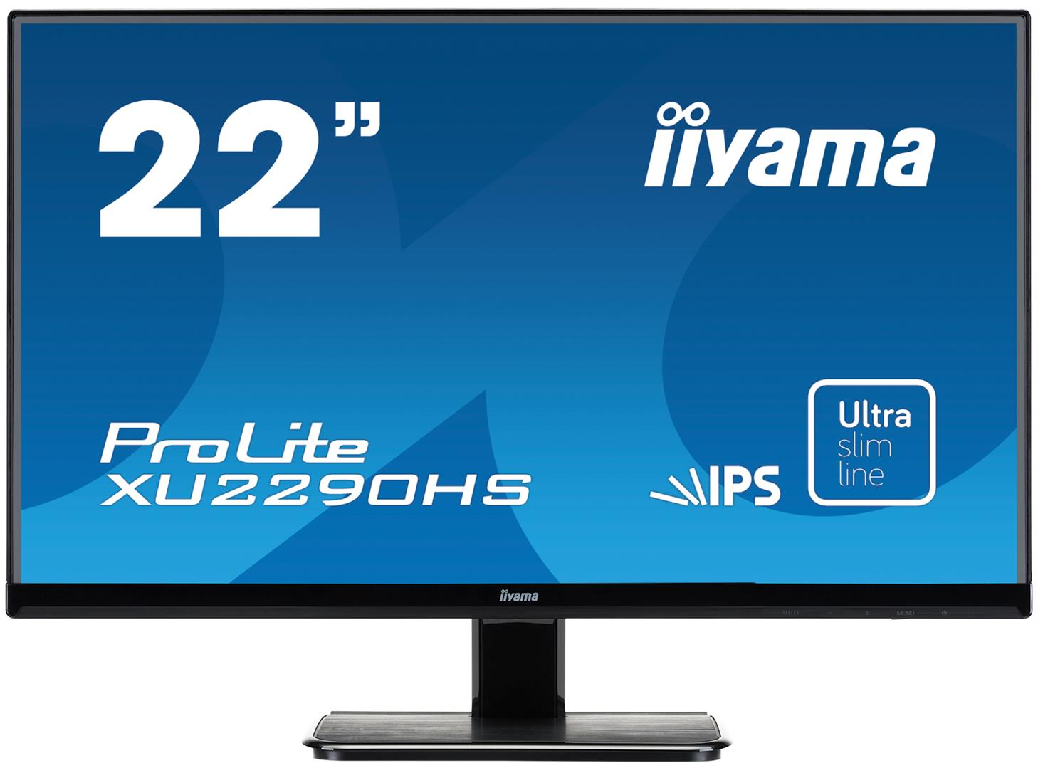 """22"""" LCD iiyama XU2290HS-B1 - IPS, 5ms, 250cd/m2, 1000:1 (5M:1 ACR) VGA, DVI, HDMI, repro, slim"""
