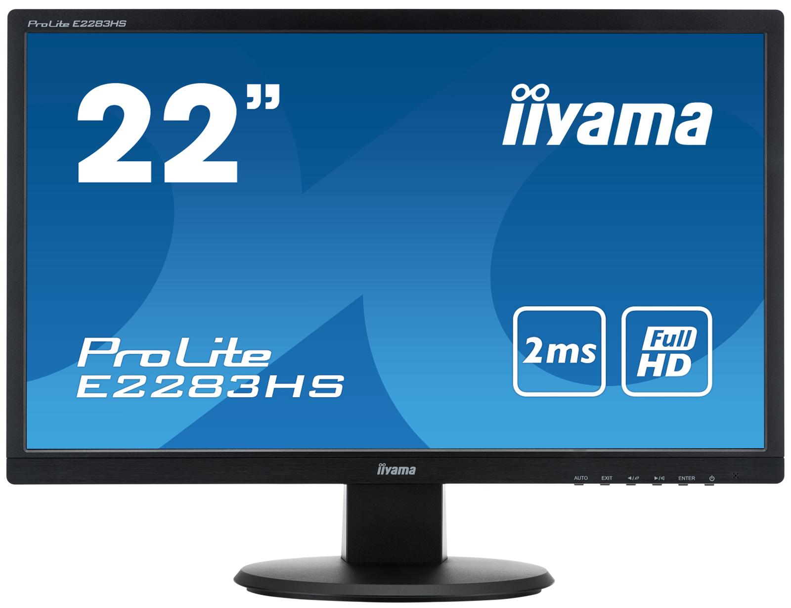 """22""""LCD iiyama E2283HS-B1 - 1ms, 250cd/m2, FullHD, 1000:1 (12M:1 ACR), VGA, HDMI, DVI, repro, černý"""