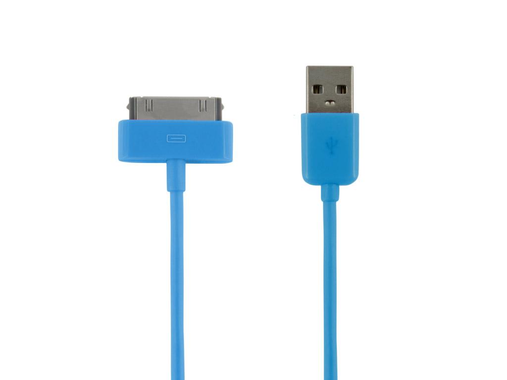 4World Kabel USB 2.0 pro iPad / iPhone / iPod přenos dat/nabíjení 1.0m modrý