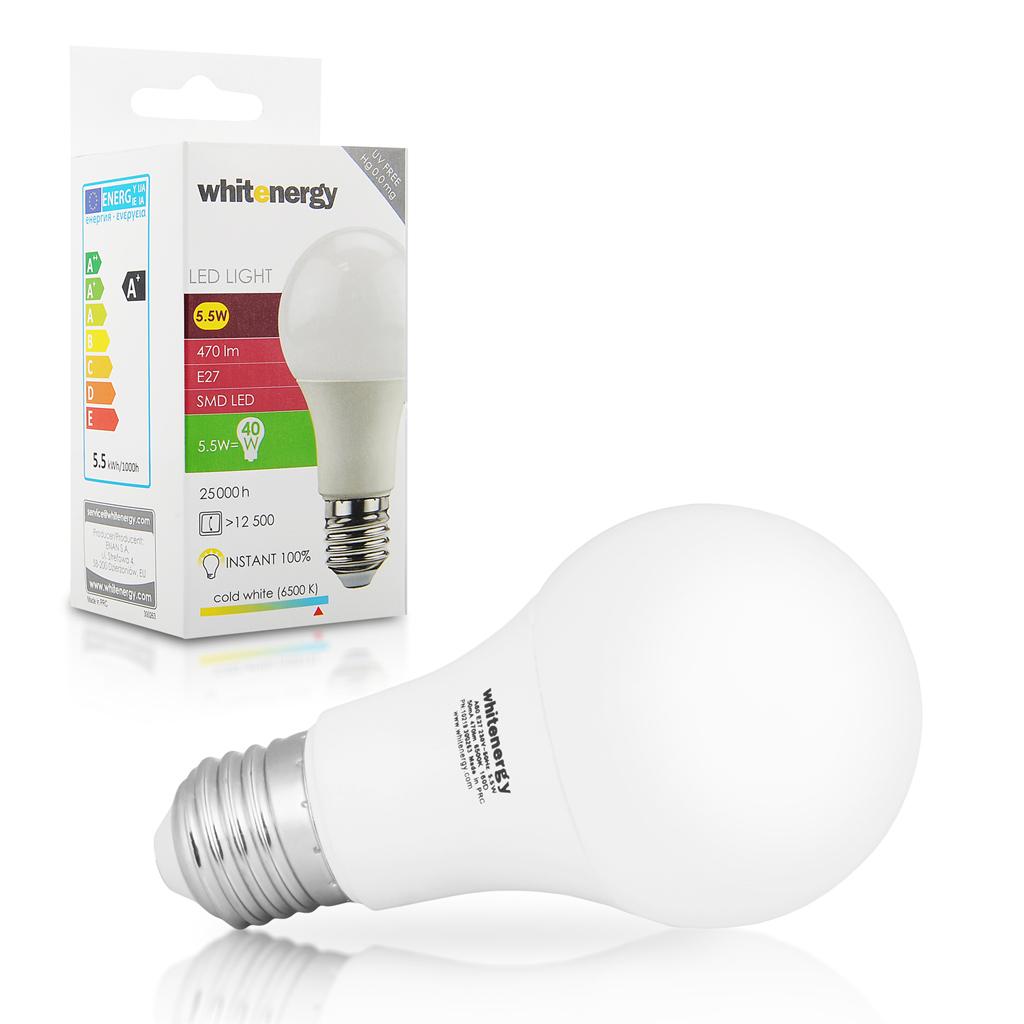WE LED žárovka SMD2835 A60 E27 5.5W studená bílá