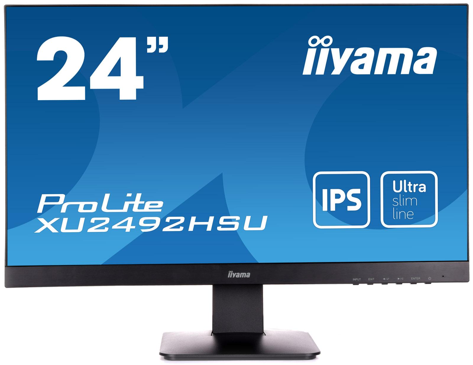 """24"""" LCD iiyama XU2492HSU-B1 - IPS, 5ms, 250cd/m2, 1000:1 (5M:1 ACR), DP, USB hub, HDMI, repro"""
