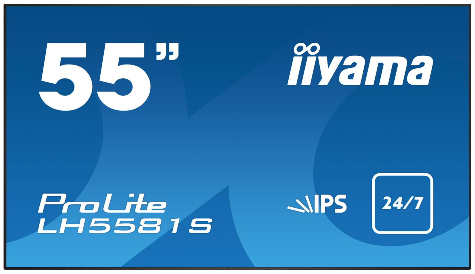 "55"" LCD iiyama ProLite LH5581S-B1 -FullHD,IPS,8ms,500cd,USB media player,RJ45,RS232C,repro,OPS,24/7"