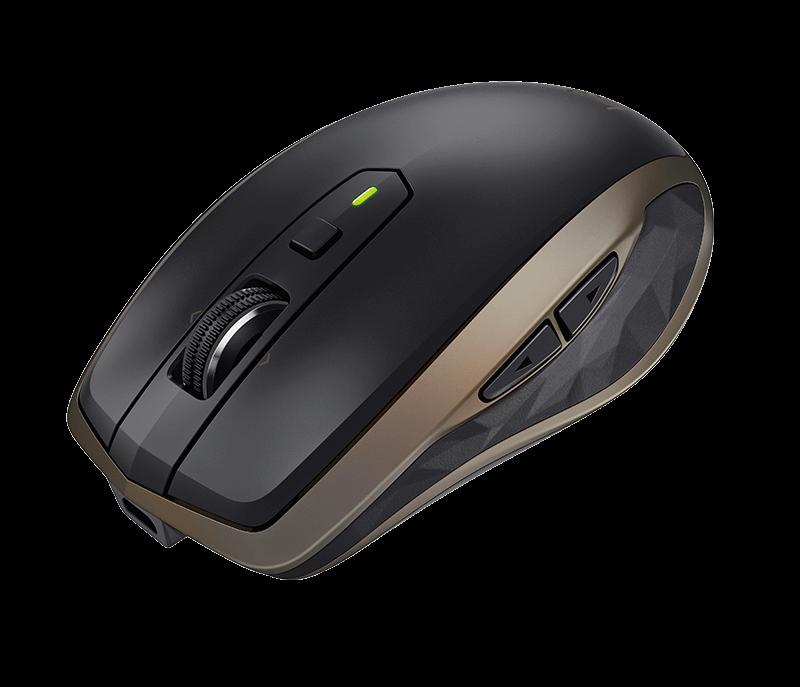 Logitech myš MX Anywhere 2, Darkfield, laserová, unifying přijímač, 6 tlačítek, bronzová
