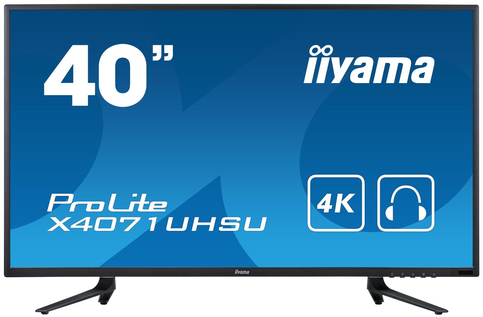 "40"" LCD iiyama ProLite X4071UHSU-B1 -4K, MVA, 350cd/m2, 3ms, 3x HDMI, DP, 3x USB 3.0, RS232C, repro"