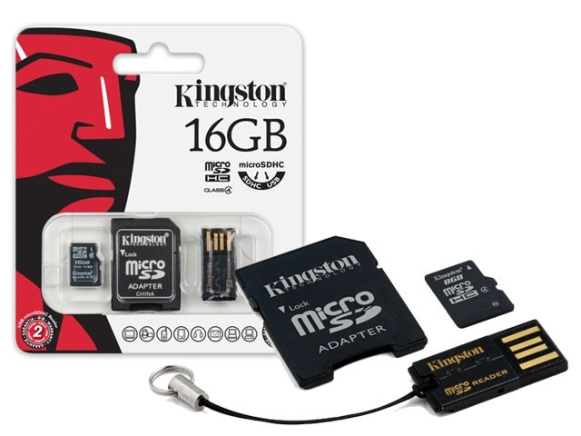 KINGSTON 16GB micro SD + SD adaptér + microSD čtečka Gen2 class 4