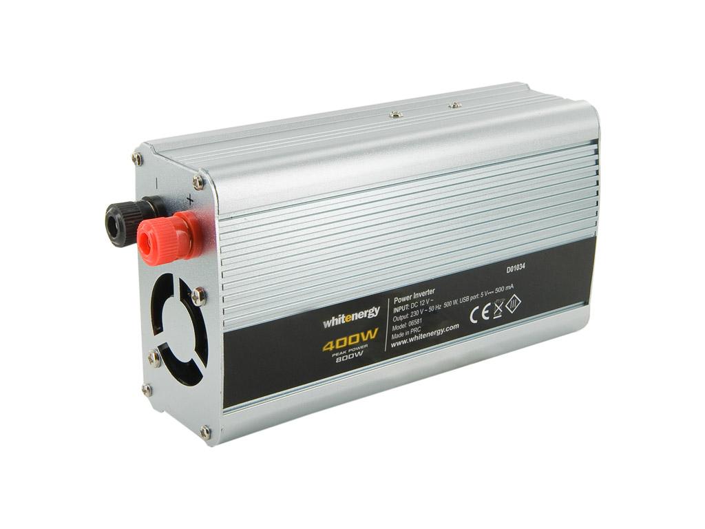Whitenergy Napěťový měnič AC/DC z 12V na 230V 400 W, USB