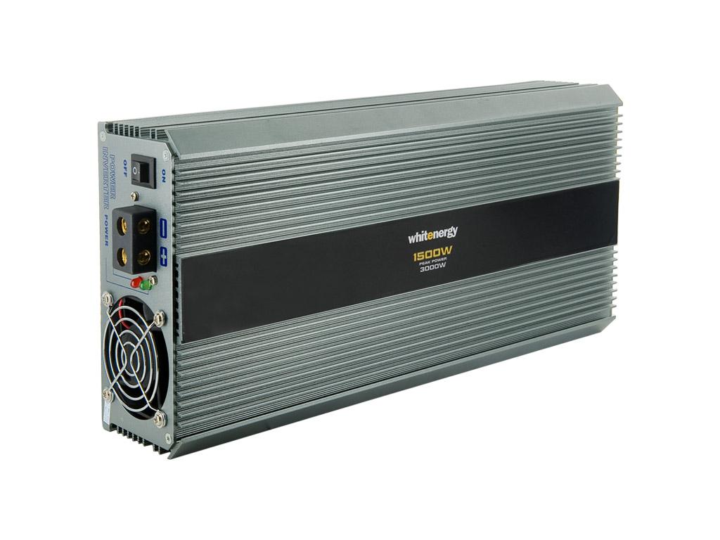 WE Měnič napětí DC/AC 12V / 230V, 1500W, 2 zásuvky