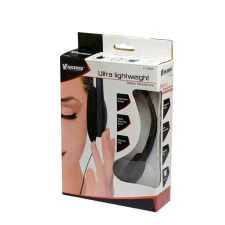 VAKOSS Stereofonní sluchátka na uši, nastavitelná výška, černá