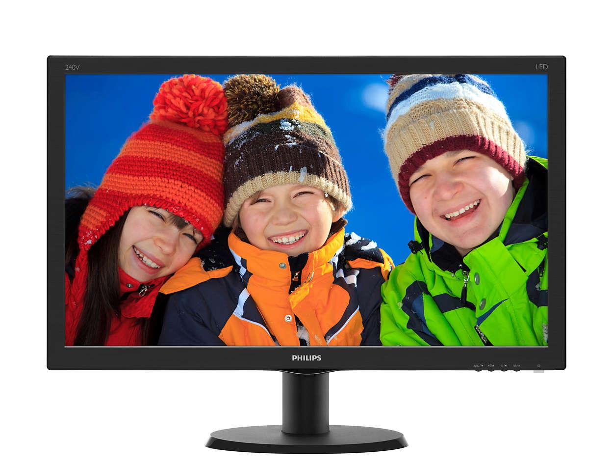 "Philips LCD 240V5QDAB/00 23,8"" wide ADS-IPS/1920x1080/20M:1/5ms/250 cd/VGA/DVI-D/HDMI/Repro/VESA/"
