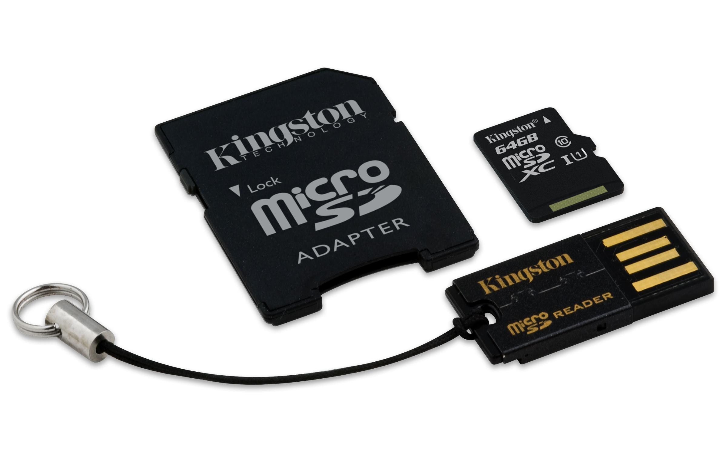 KINGSTON 64GB micro SD + SD adaptér + microSD čtečka Gen2 class 10
