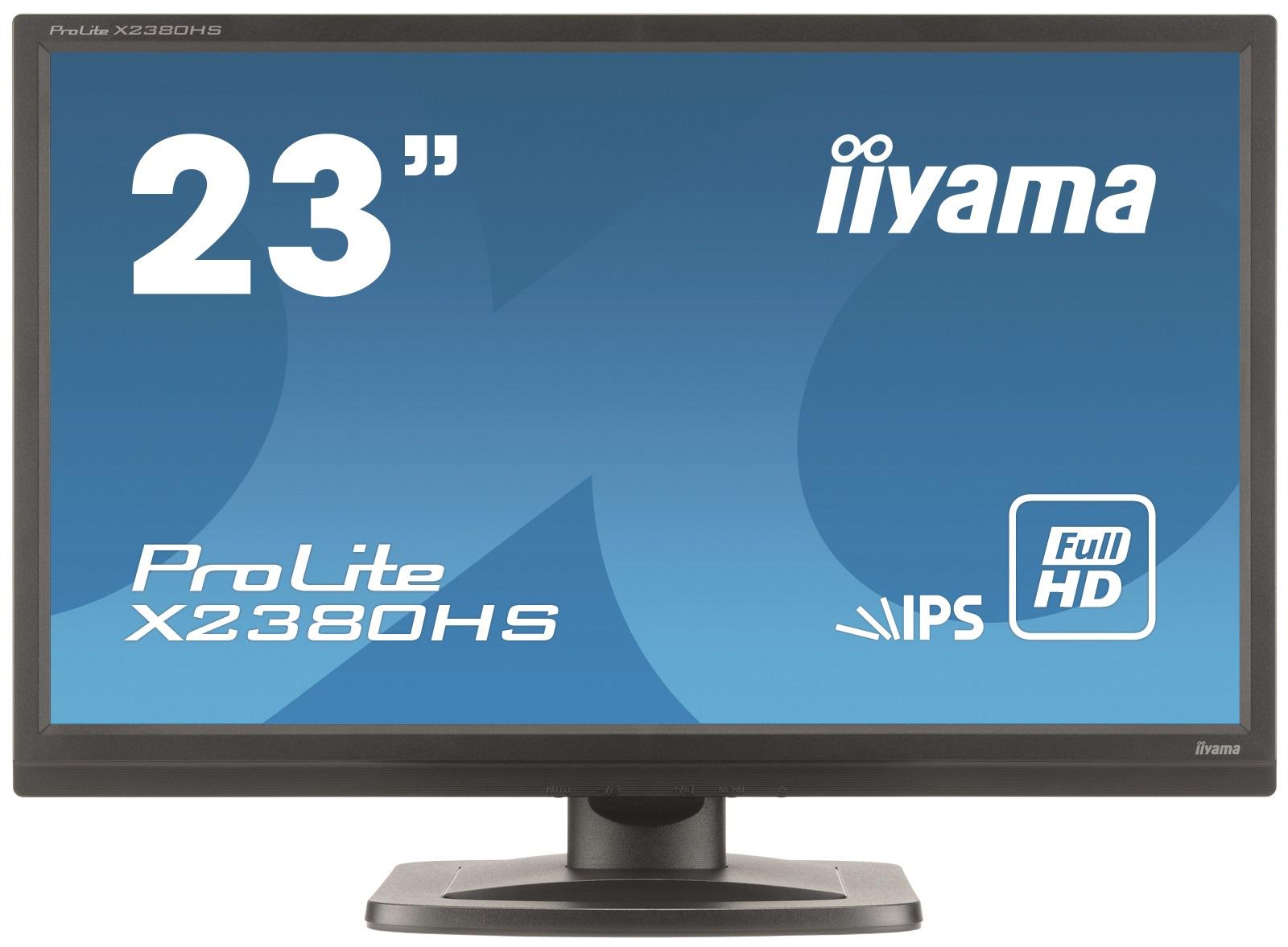 """23""""LCD iiyama X2380HS-B1 - IPS, 5ms, 250cd/m2, 1000:1 (5M:1 ACR), FullHD, VGA, DVI, HDMI, repro"""